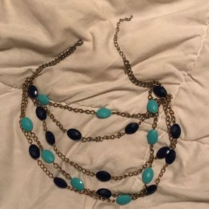 Gold blue and turquoise necklace